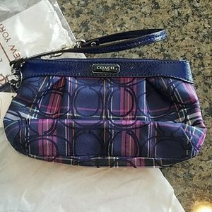 Blue and Pink Plaid Coach Wristlet